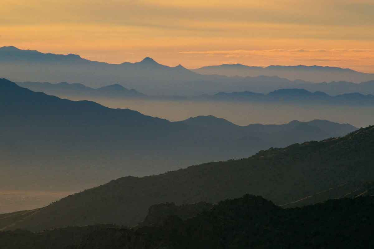 Distant southern Arizona mountain ranges as seen from high in the Santa Catalina Mts. north of Tucson