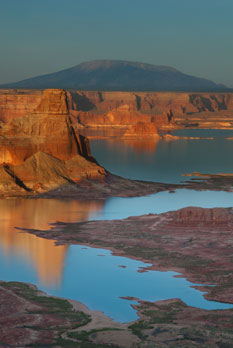 Lake Powell, from the Utah side, with Gunsight Butte at middle-left and Navajo Mt. in the distance