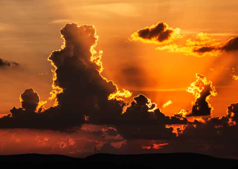 Clouds at sunset as seen from the Sierra Ancha, Arizona