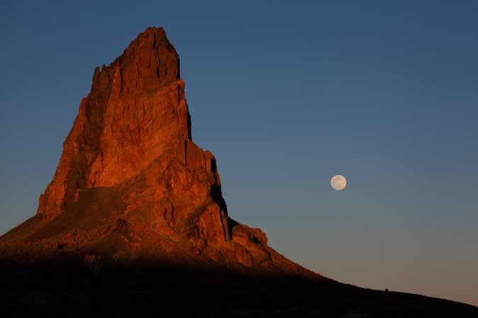 Moonrise at Agathla Peak in the high desert on the Navajo Nation in northern Arizona (south of Monument Valley)