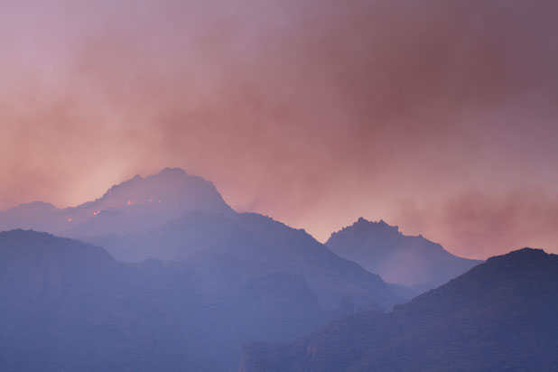 The Bighorn Fire in the Santa Catalina Mts. north of Tucson, Arizona
