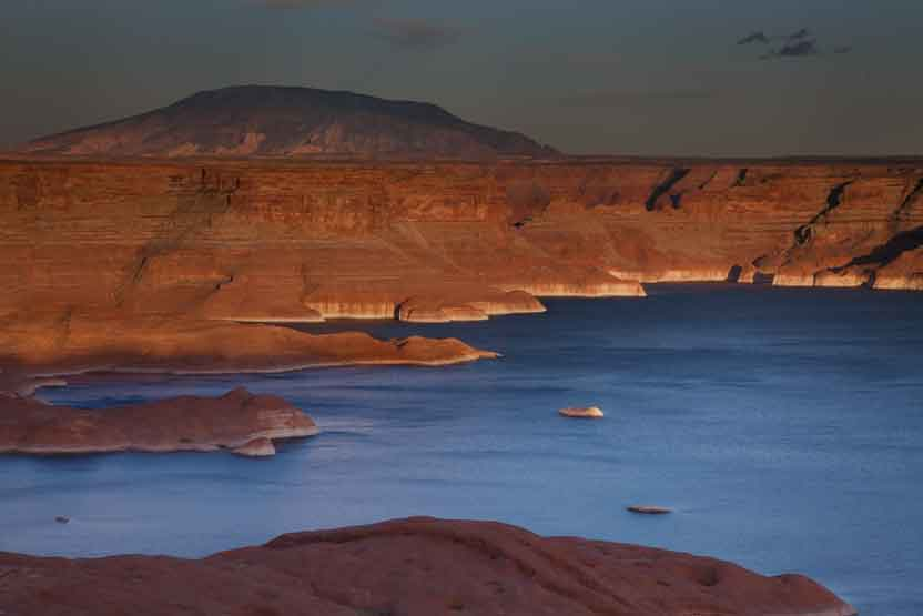 From the Utah side of Lake Powell looking across Last Chance Bay, with Navajo Mt. in the distance