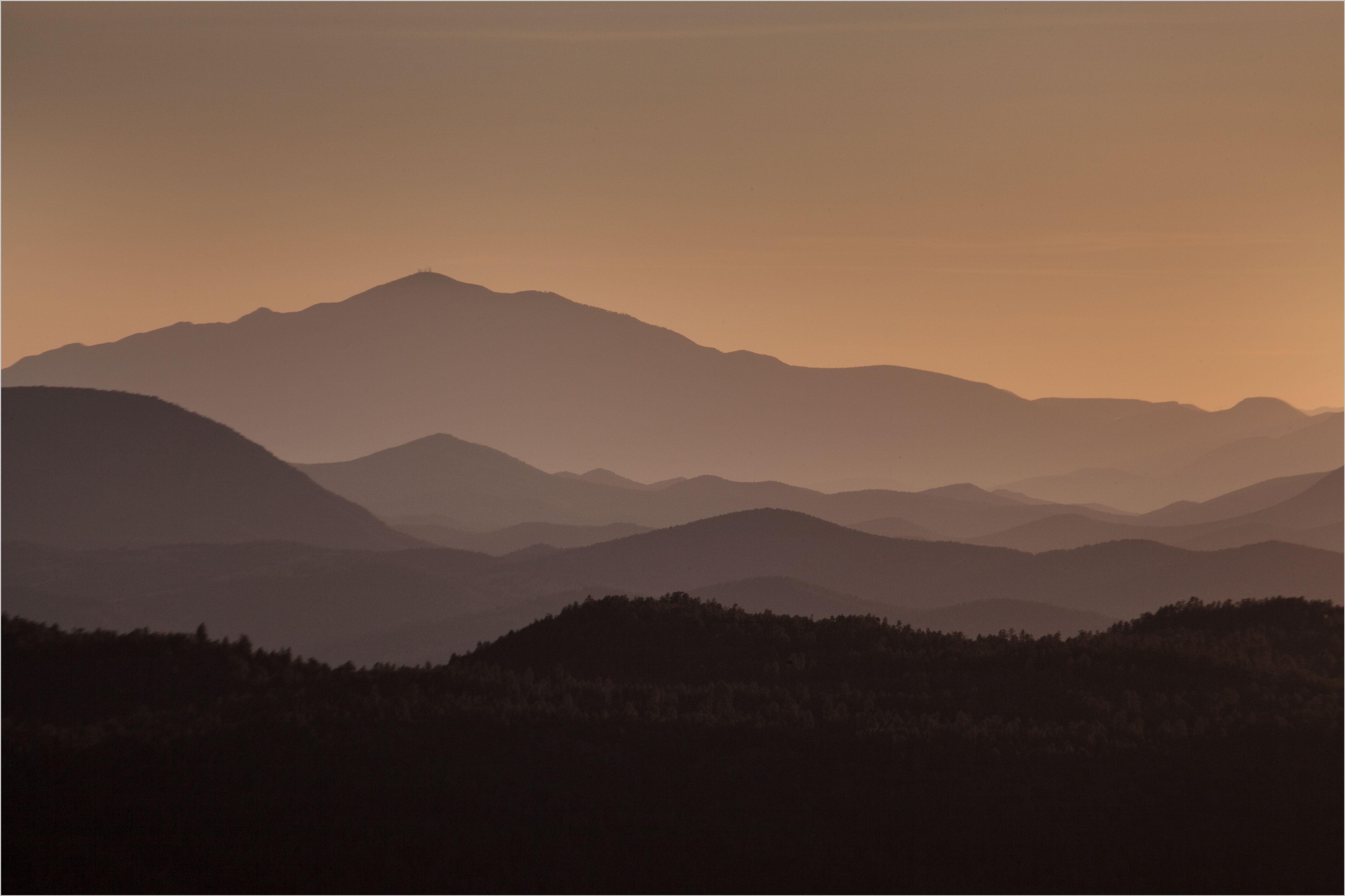 View from the Mogollon Rim, Arizona at sunset