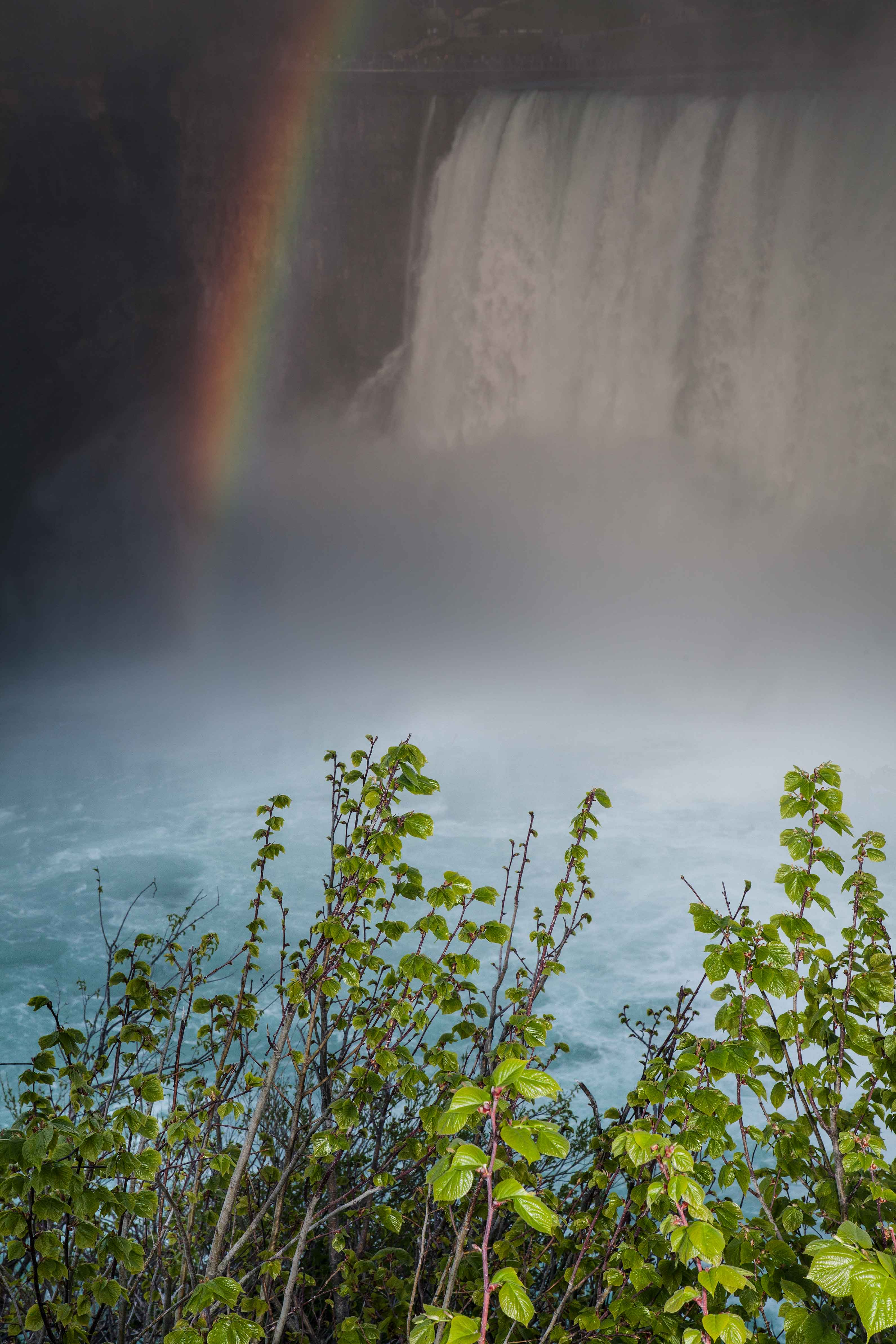 Horseshoe Falls with a rainbow from the Canadian side of Niagara Falls