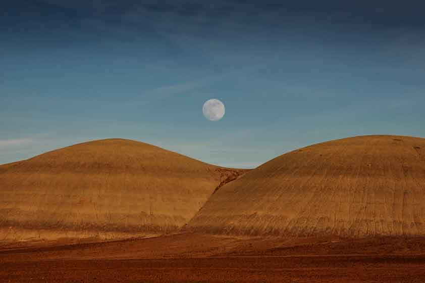 Moon rising over the Painted Desert, Arizona