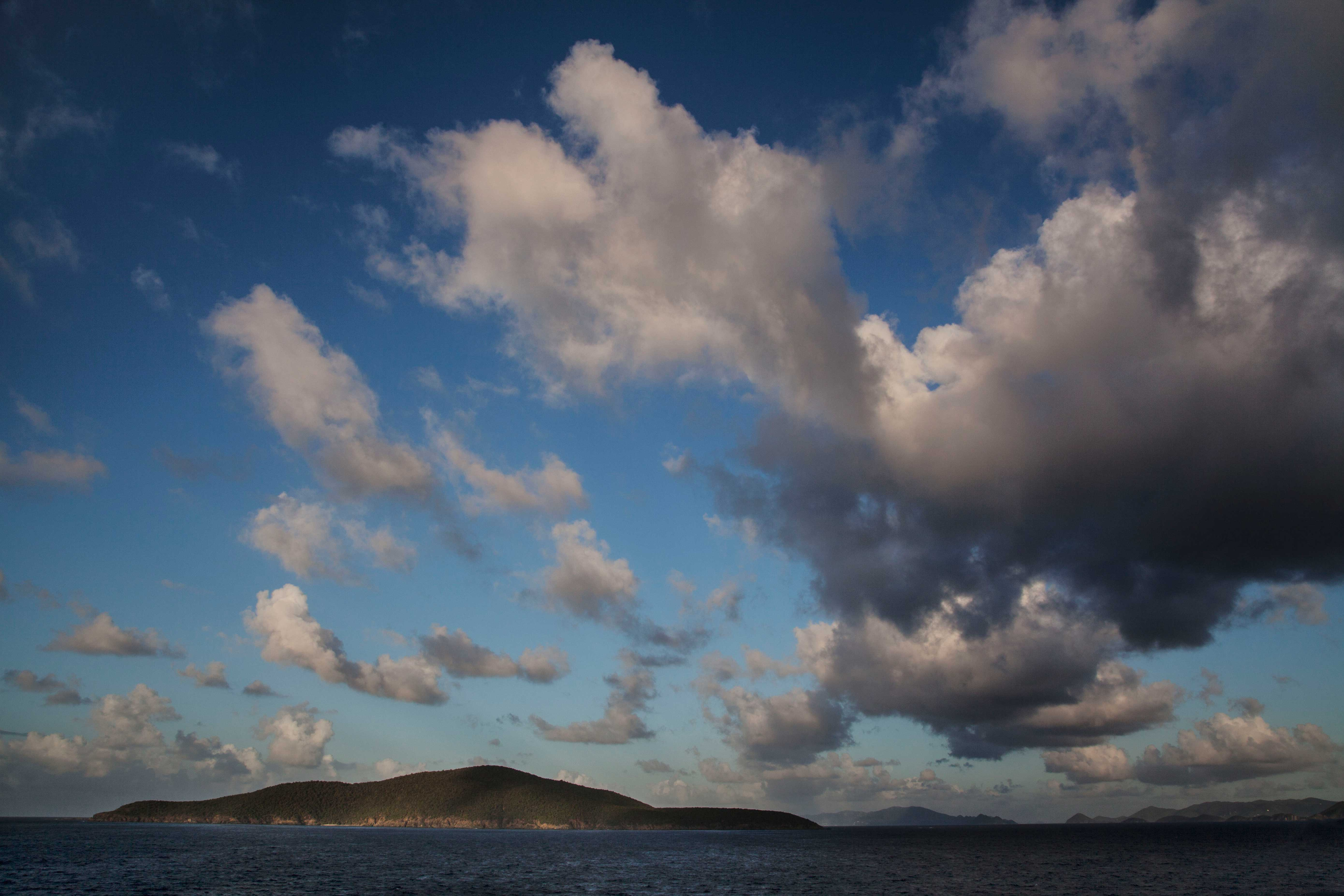 Water, islands and clouds at St. Thomas in the Virgin Islands in the Caribbean Sea
