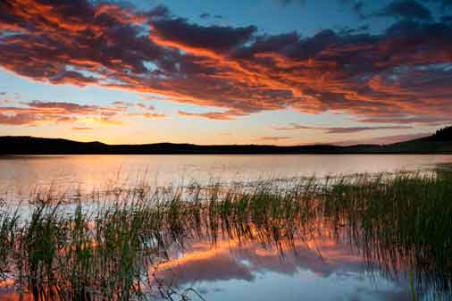 Crescent Lake in the White Mts. of eastern Arizona at sunset